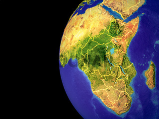 Africa on globe from space