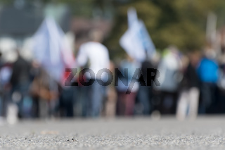 Blurred image of a crowd on the street