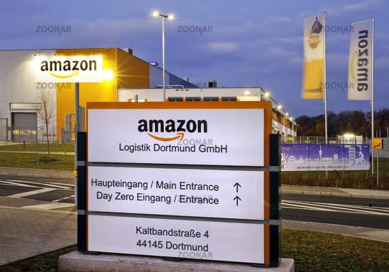 Amazon logistics centre, main entrance, Dortmund, site of the former Westfalenhuette, Germany Europe
