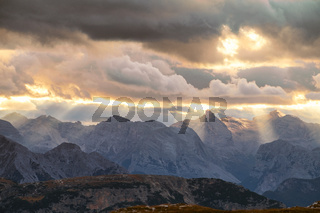 Mountains Panorama of the Dolomites at Sunrise with clouds