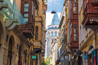 Old Istanbul street and the Galata Tower, Turkey