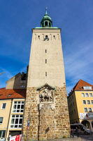 Lauenturm (Lion Tower) with a bas-relief of the King of Saxony Albert I.