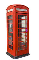 Old fashiond red telephone box isolated