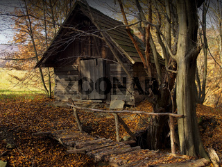 old barns in the woods