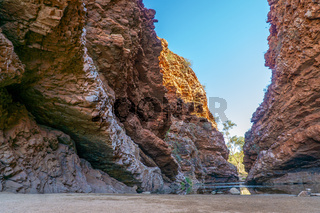 in the Australian outback there is a rugged rock formation called Simpsons Gab