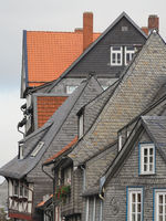 Goslar - Old town houses, cledded with slate, Germany