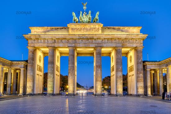 The Brandenburg Gate in Berlin at dawn
