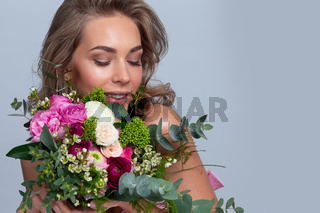 Woman with stylish flowers