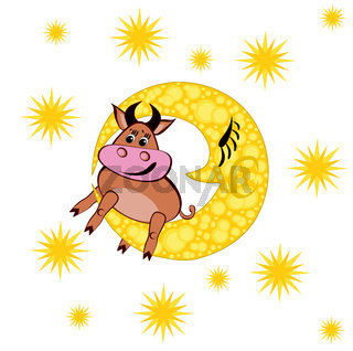 Year of the bull. In the picture, a bull lies on a yellow moon against a starry sky, vector