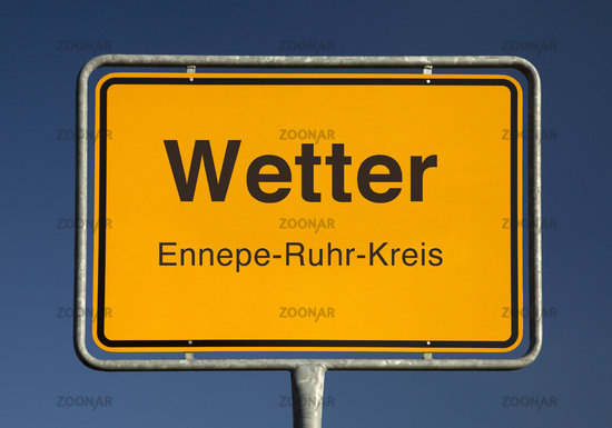City limits sign, Wetter or weather, Ennepe-Ruhr district, North Rhine-Westphalia, Germany, Europe