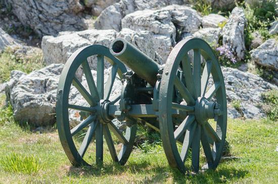 Old metal cannon. Shipka, Gabrovo, Bulgaria. The Shipka Memorial is situated on the peak of Shipka i