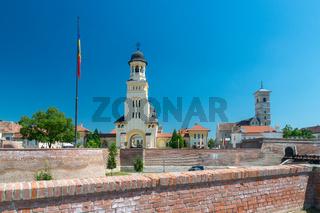 View to the Citadel Alba-Carolina on a summer sunny day in Alba Iulia, Romania