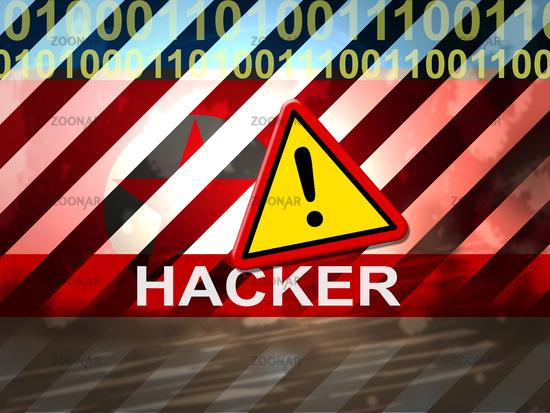 Hacker Shows North Korea Cyber Spying 3d Illustration