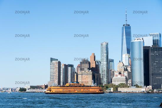 Staten Island Ferry and Lower Manhattan Skyline