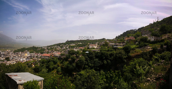 Aerial panoramic view to Gjirokaster city, Albania