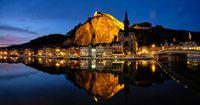 Night panorama of Dinant town, Belgium