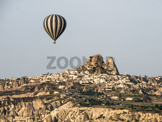 Hot Air Ballons Above the Ancient Cave City in Cappadocia