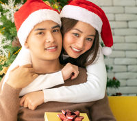 Couple christmas celebration