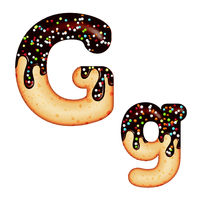 Tempting typography. Font design. 3D donut letter G glazed with chocolate cream and candy