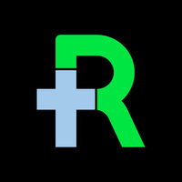 Letter r with plus symbol. Flat and isolated.