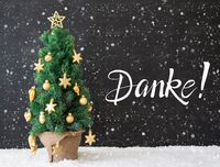 Christmas Tree, Black Background, Snowflakes, Danke Means Thank You