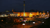 Panorama of Independence Square in Ukrainian capital Kyiv at night. Lights of night city