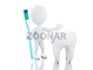 3d White people with toothbrush and tooth.