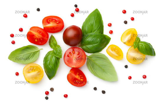 Composition With Fresh Cherry Tomatoes Isolated