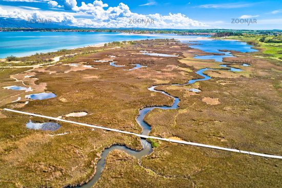 Sea marshes and shallow sand beach of Nin aerial view