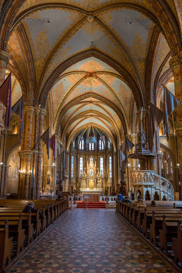 Interior of Matthias Church in Buda's Castle District. The church was the venue of several coronations, including that of Charles IV in 1916, last Habsburg king