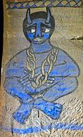 Blue fresco of a chained devil, rock-hewn church Abuna Gebre Mikael, Gheralta,Tigray, Ethiopia