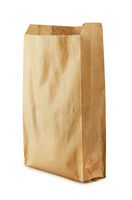 Recycle brown paper bag mockup isolated
