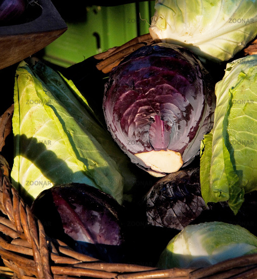 Cabbage in a braided basket