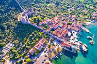 Mali Ston waterfront and historic walls aerial view