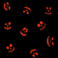 Halloween seamless background with Jack O'Lantern faces 4