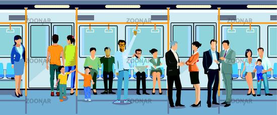 Subway with passengers