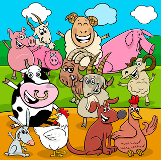 happy farm animals cartoon characters group