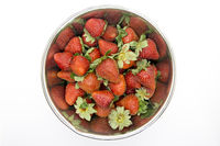 Bowl full of red fresh strawberries