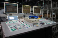Control Cockpit Industrial Printing Equipment Buttoms Dials Screens Manufacturing Empty Nobody