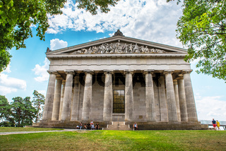 Donaustauf, Bavaria, Germany - 27 July, 2018: People on the tour in Hall of fame - Walhalla memorial