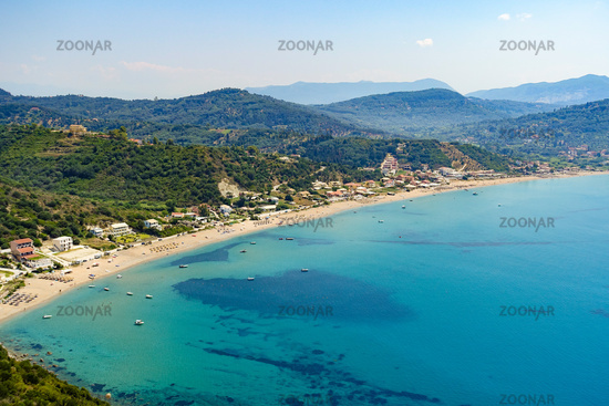 The bay of Agions Geoergios Pagi, a popular tourist destination, Corfu, Greece