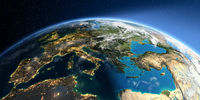 Detailed Earth. Europe. Mediterranean Sea