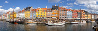 Panoramic view of famous Nyhavn district in Copenhagen, Denmark