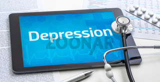The word Depression on the display of a tablet