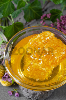 Honeycombs and floral honey on a dark gray background. Vertical photo.