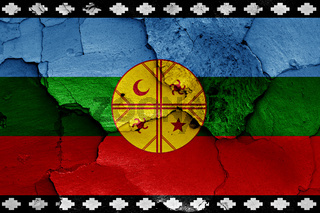 flag of Mapuche painted on cracked wall