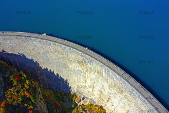 Emosson dam and water reservoir, Barrage d'Emosson,  Finhaut, Valais, Switzerland