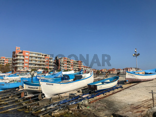 Pomorie, Bulgaria - November 01, 2019: Pomorie Is A Town And Seaside Resort In Southeastern Bulgaria, Located On A Narrow Rocky Peninsula In Burgas Bay On The Southern Bulgarian Black Sea Coast.