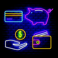 Money and banking neon signs collection