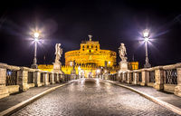 Rome by night - Sant'angelo Castle bridge